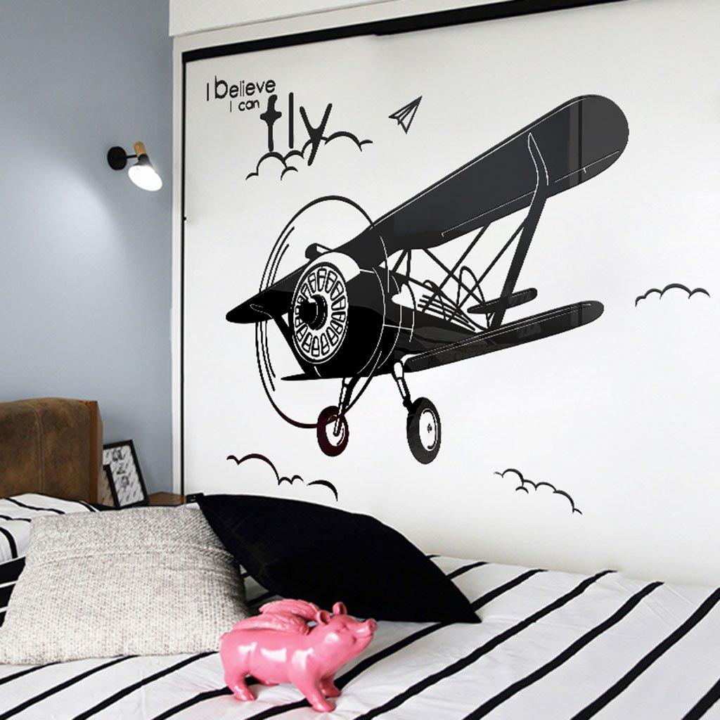 Unbekannt DWW-Wandsticker Wandaufkleber Acryl 3D Flugzeug Muster Kinderzimmer Hintergrund Schlafzimmer Dekorationen entfernt Werden können, ohne abzufallen Wandsticker (größe : S)