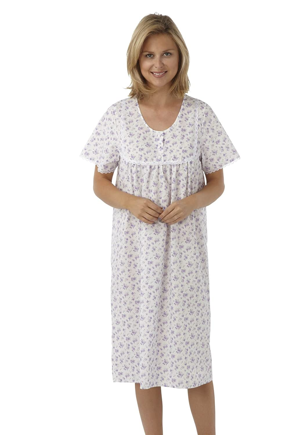Ladies Plus Size Short Sleeved Poly//Cotton Nightdress Sizes 32//34 36//38 Lilac Pink or Blue Floral