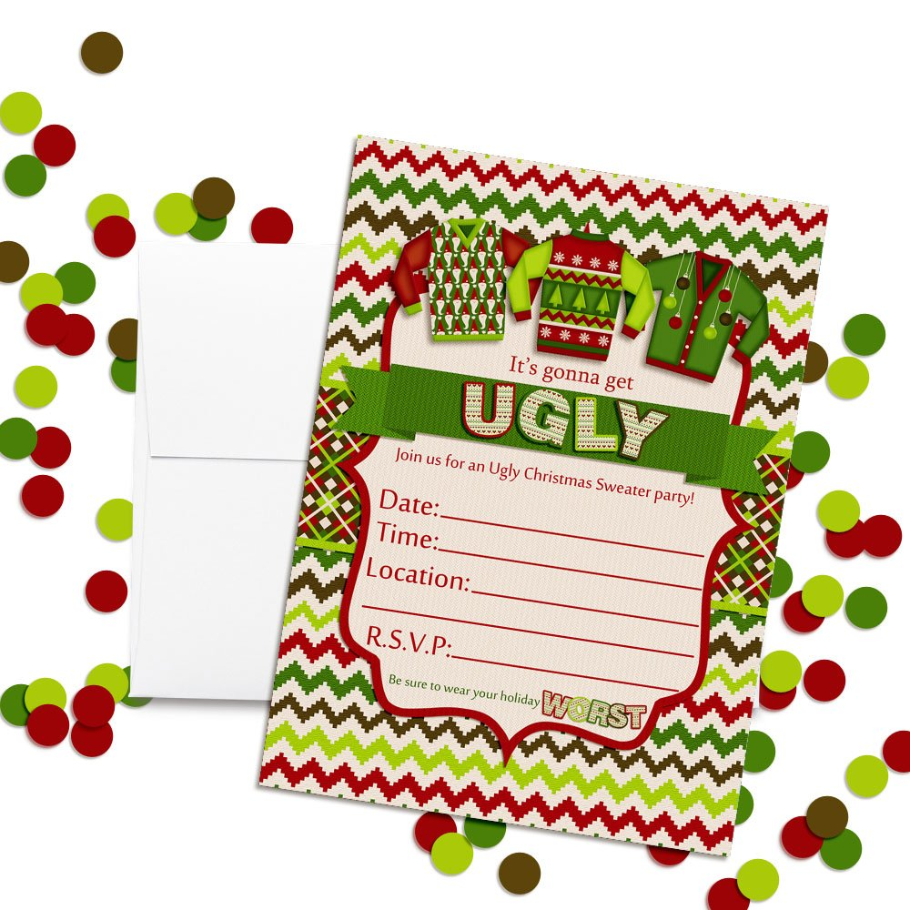 20 5x7 Fill in Cards with Twenty White Envelopes by AmandaCreation 20 5x7 Fill in Cards with Twenty White Envelopes by AmandaCreation Amanda Creation Ugly Christmas Sweater Party Invitations