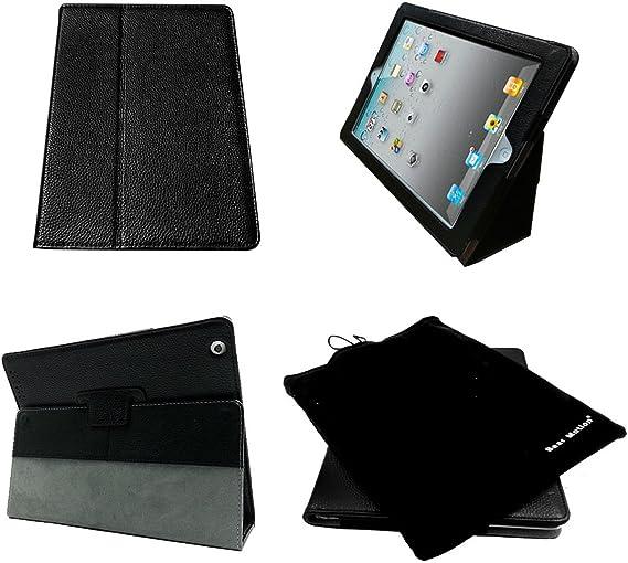 Oso movimiento (TM) 100% funda de piel para iPad 2/iPad 3 (el nuevo iPad)/iPad 4 con soporte integrado – Apoyo a la función Auto Sleep/Awake (Negro): Amazon.es: Informática
