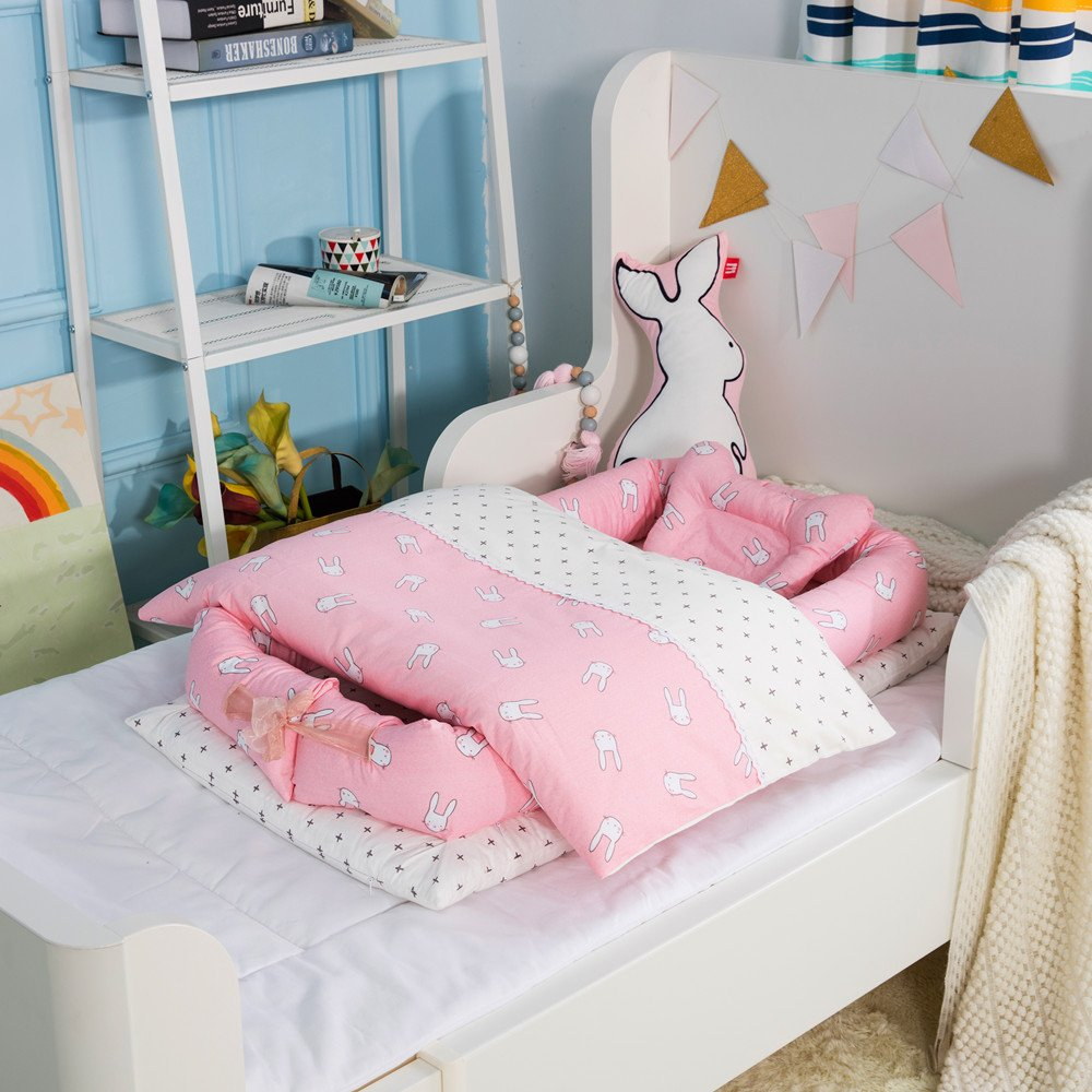 Detachable Baby Isolated Bed Newborn Baby Sleeping Artifact Collapsible Bionic Bed Baby Cot with Quilt 0-24 Months Dinosaur Paradise