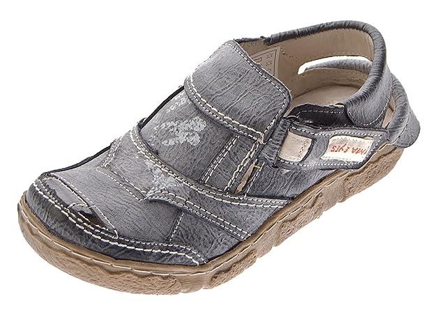TMA Damen Comfort Leder Sandaletten 7008 Schuhe Schwarz-Grau Halbschuhe Sandalen Gr. 36 bLbSvYS