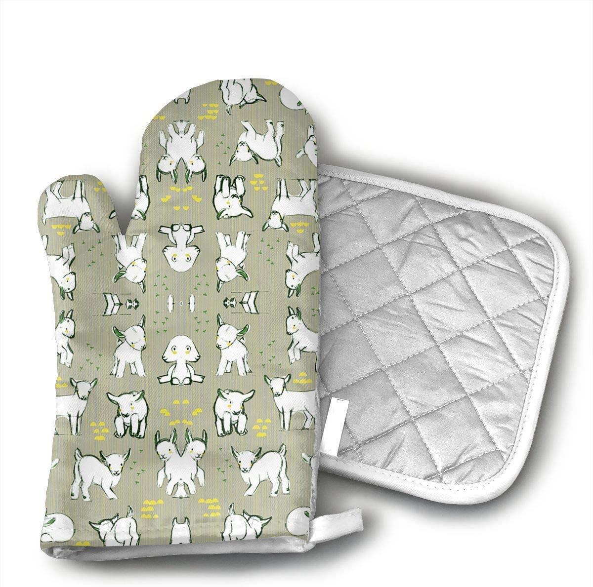 Baby Goats in Grey Grill Oven Mitts and Pot Holders Set with Polyester Cotton Non-Slip Grip, Heat Resistant, Oven Gloves for BBQ Cooking Baking, Grilling