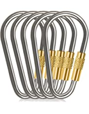 D-FantiX Mini Titanium Carabiner, D-Ring Locking Carabiner Keychain with Key Rings EDC Gear (Pack of 5)