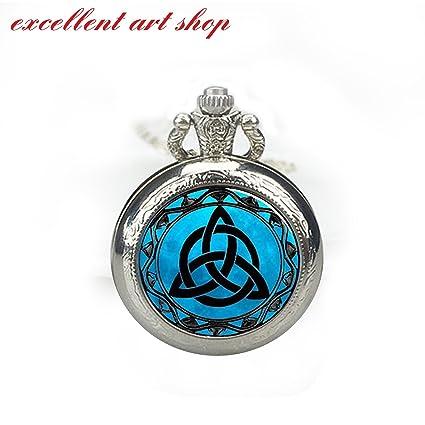 Amazon Blue Moon Celtic Triquetra Pocket Watch Pendant