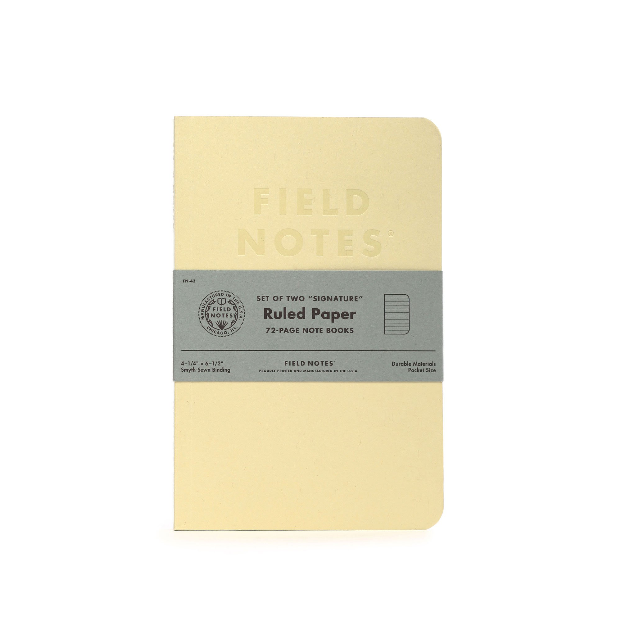 Field Notes Signature Series Notebook 2-Pack - 4.25'' x 6.5'' - 72 Pages (Cream with Ruled Paper)