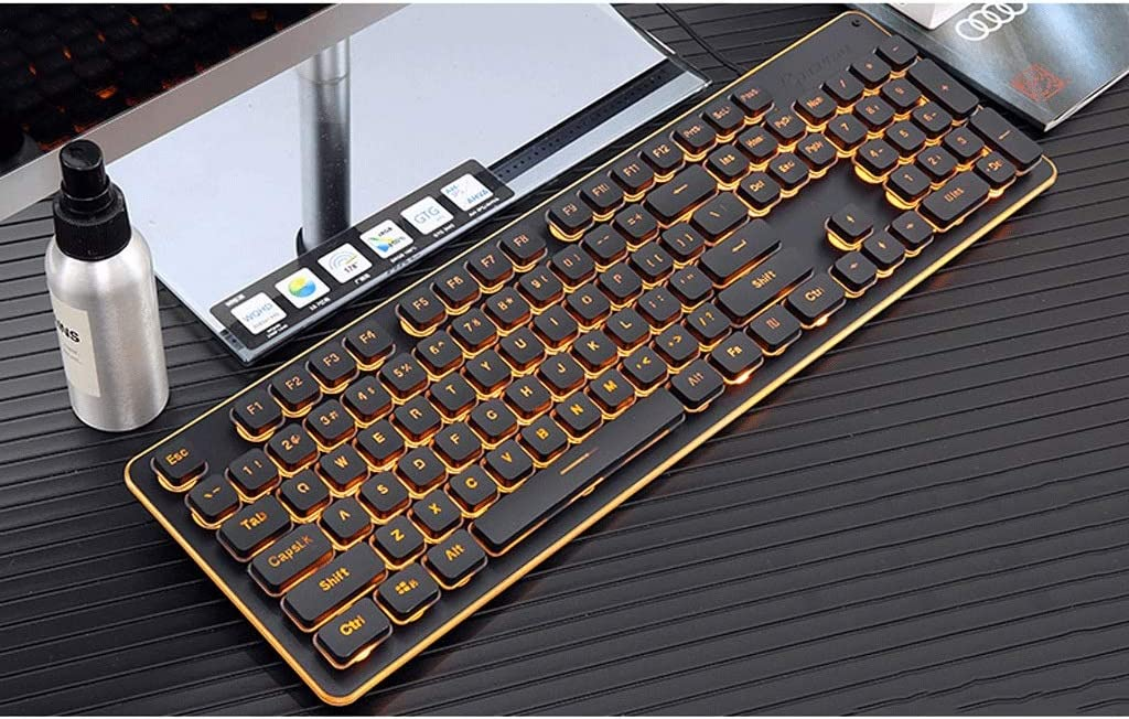 Color : Black Keyboard Orange Light Wired Keyboard Computer Laptop Floating Button Home Office Game Multimedia Backlight Alloy Panel