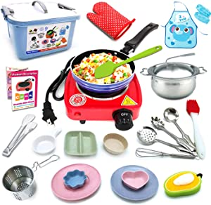 Kids Real Cooking Set 22 PCS Miniature Kitchen Kit With Electric Single Burner, Cooking Utensils, Apron To Teach Children To Cook Chef Costume Role Play Great Gift for Girls, Boys, Teen, Kids
