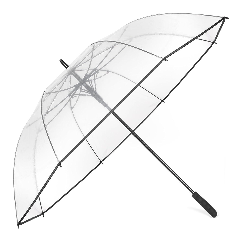 Minuma Regenschirm XXL | durchsichtig, klar und Extra groß: 128 x 98 cm | mit Praktischem Öffnungsmechanismus und ergonomischem Griff | Schirm auch für Paare geeignet