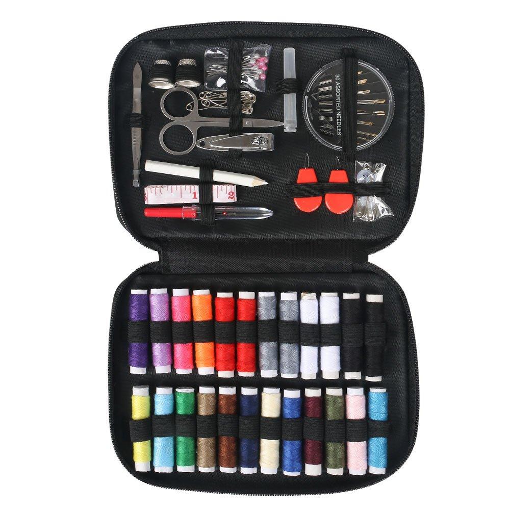 Leeko Mini Sewing Kit for Travel, Home- Emergency Sewing Kit, Premium Sewing Supplies, Great Gift for Beginners (Black) (medium)