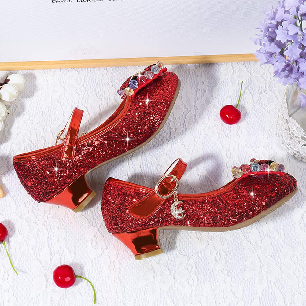 LHZZE Girls Glitter Bow Mary Janes Low Heel Princess Flower Girl Dress Shoes Wedding Party Sandals