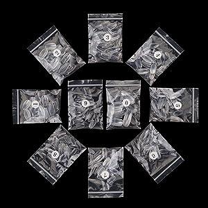 Makartt 500pcs Short Coffin Nails Press on Nails Clear Ballerina Nail Tips Full Cover False Nail Tips 10 Sizes for Nail Salons and DIY Nail Art A-03 (Color: A-03 Clear Short Coffin Nails)
