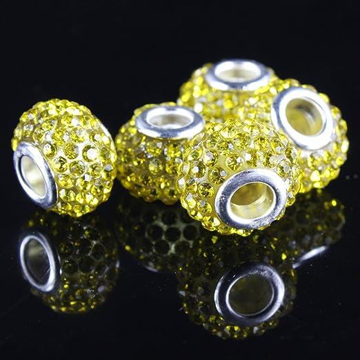 big hole bead large hole bead component 11x5.5mm medium blue pave DIY European bead destash jewelry rhinestones 1pc crystal