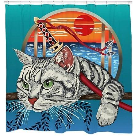 Ninja Cat Shower Curtain Cool Graphic Cat Art Japanese Comic ...
