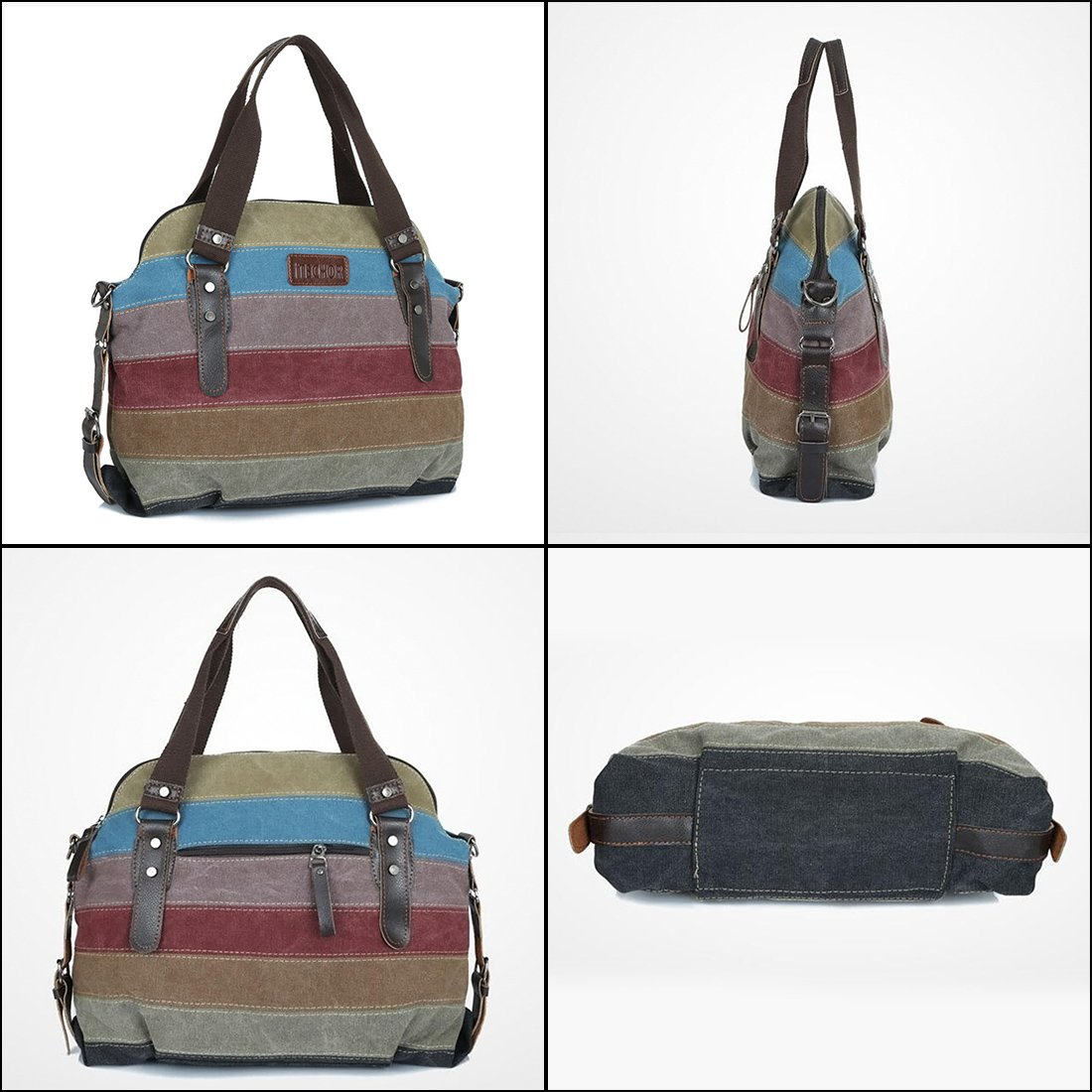 Striped Tote Bag, iTECHOR Multi-Color Striped Canvas Totes Handbag Women's  Hobos and Shoulder Cross-body Bags: Amazon.co.uk: Luggage