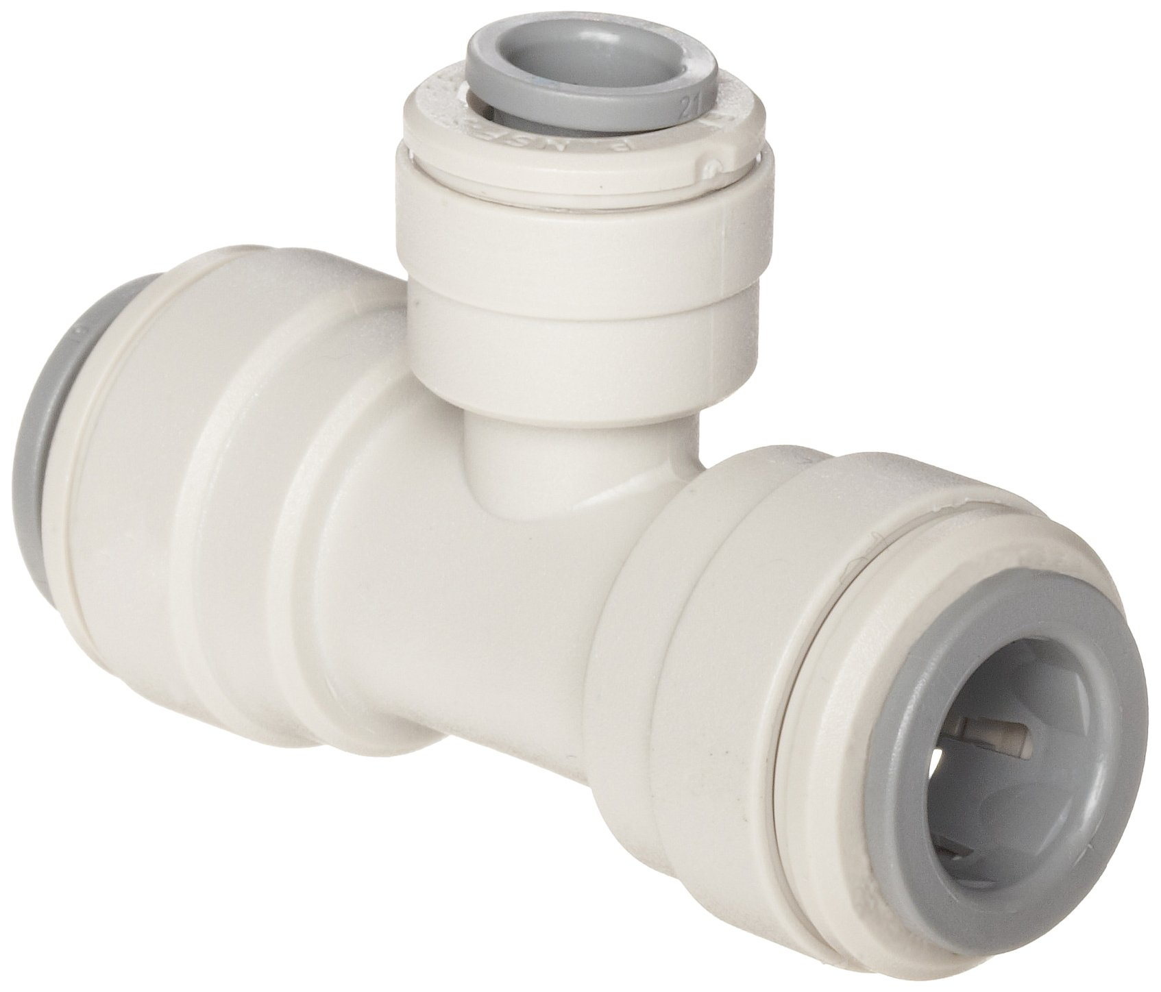 John Guest Acetal Copolymer Push-To-Connect Tube Fitting, Reducing Branch Tee, 1/2'' x 3/8'' x 1/2'' Tube OD (Pack of 10) by John Guest