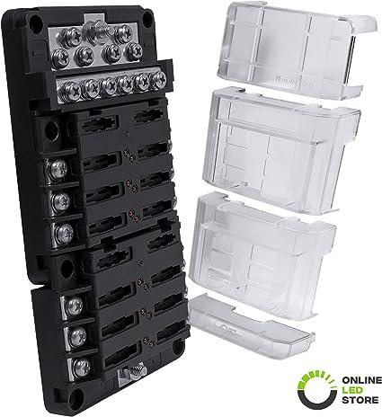 12V Cover Marine Fuse Boxs Holders 12 Way Blade Fuse Boxs /& Bus Bars Car Kits