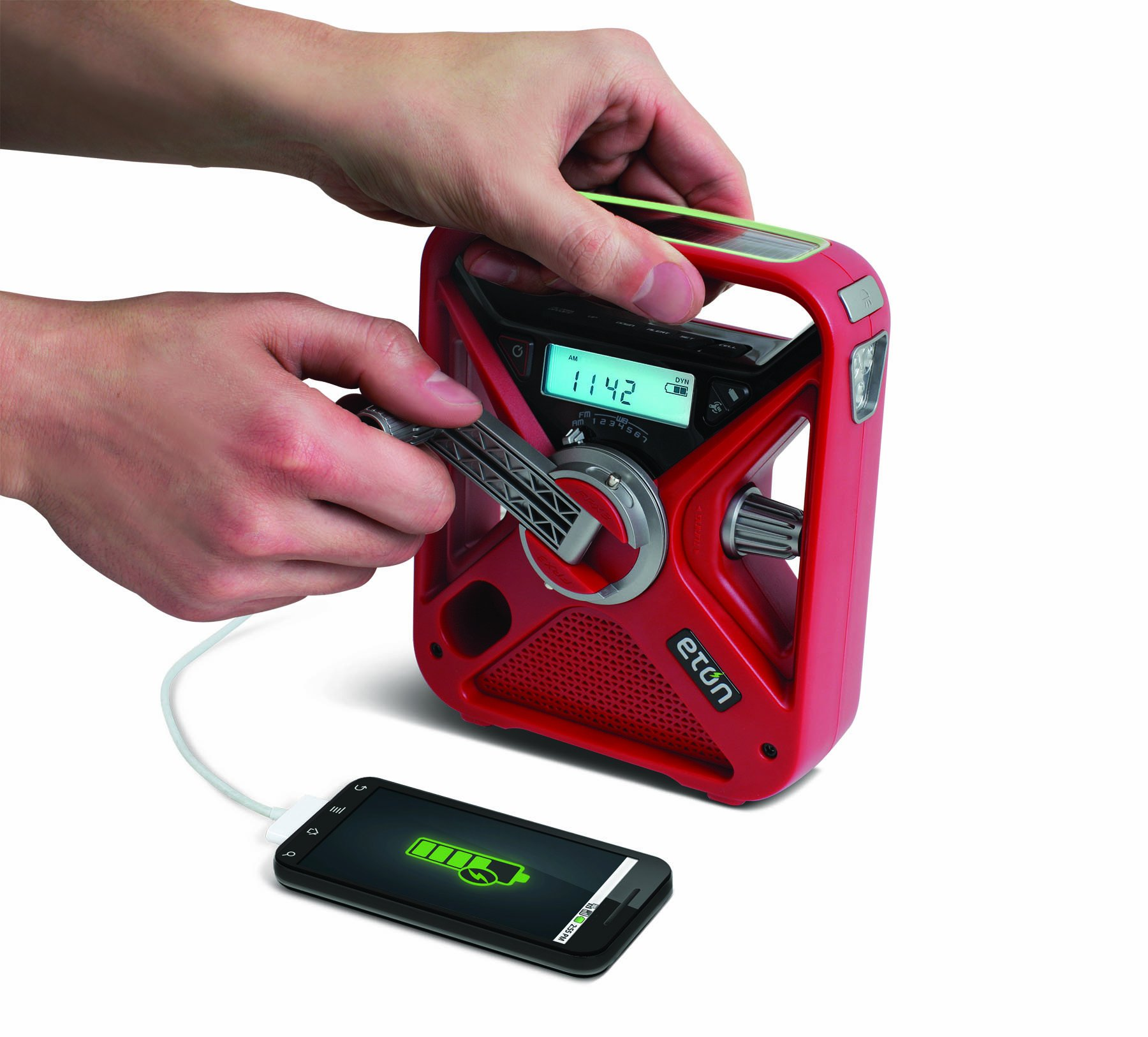 Eton FRX3 Hand Turbine AM / FM NOAA Weather Alert Radio with Smartphone Charger - Red, NFRX3WXR