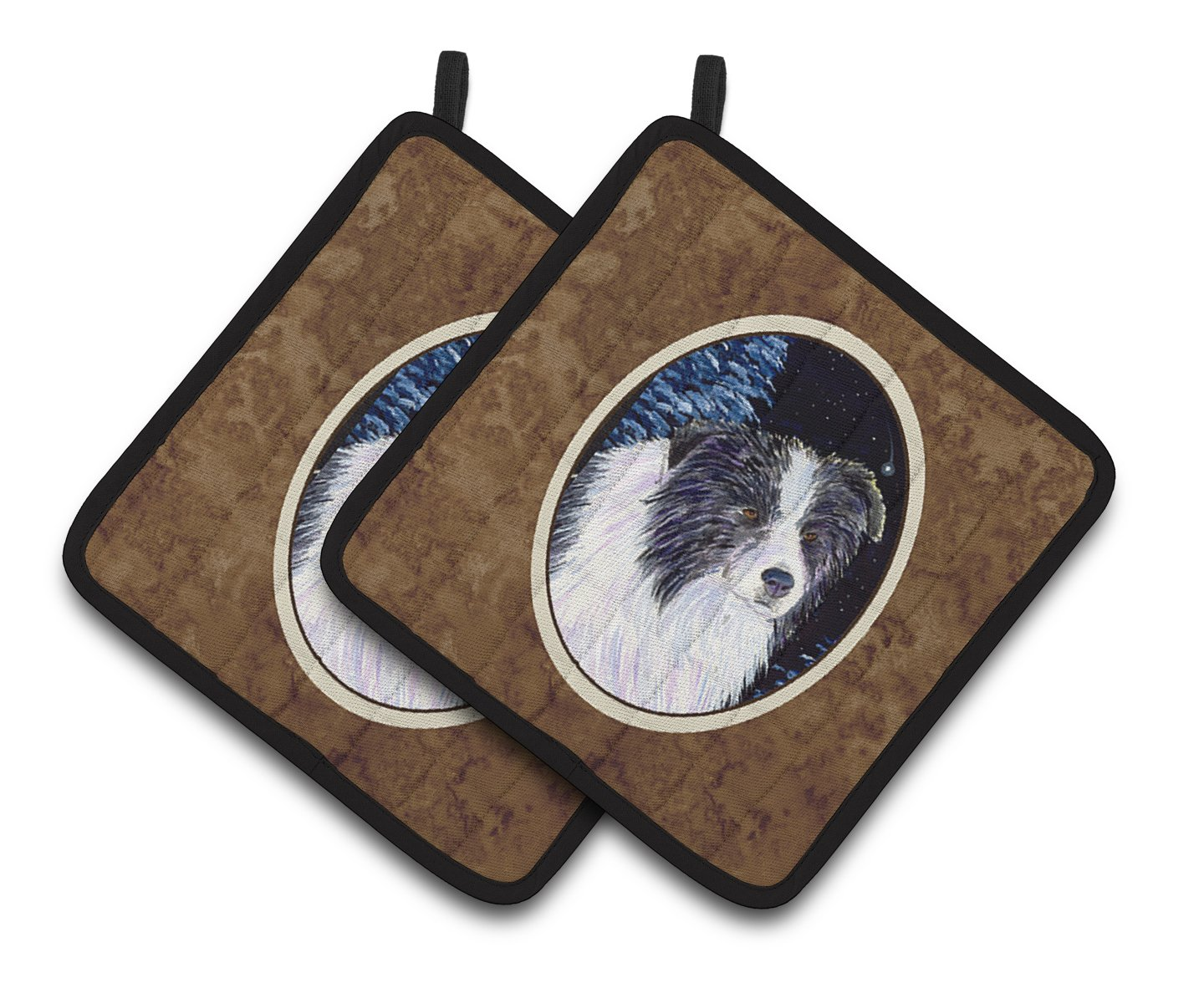 Multicolor 7.5 x 7.5 Carolines Treasures SS8558PTHD Starry Night Border Collie Pot Holders 1 Pair