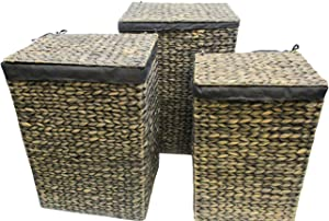 Trademark Innovations Wicker Laundry Hamper Basket Set with Attached Lids and Liners