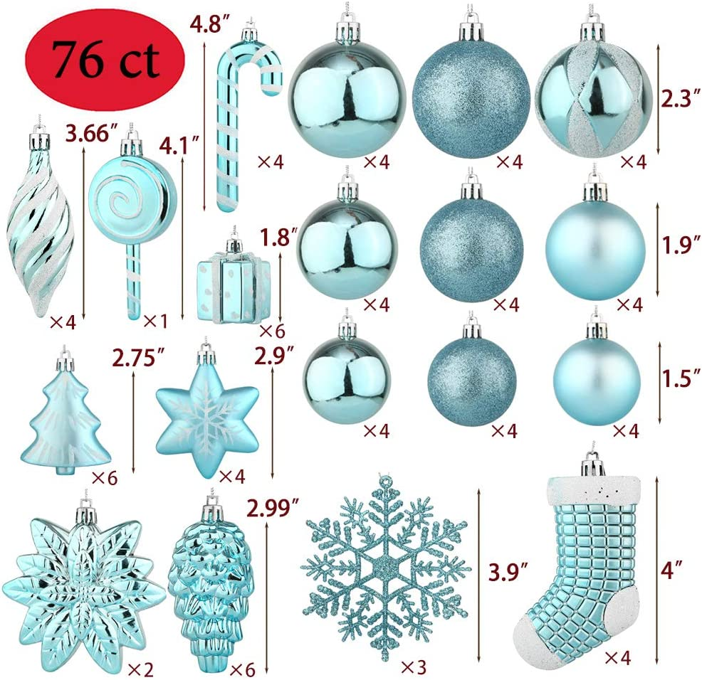 Blue Sattiyrch 76ct Christmas Balls Ornaments Set for Xmas Tree,Shatterproof Christmas Tree Decorations with Reusable Hand-Help Gift Boxes