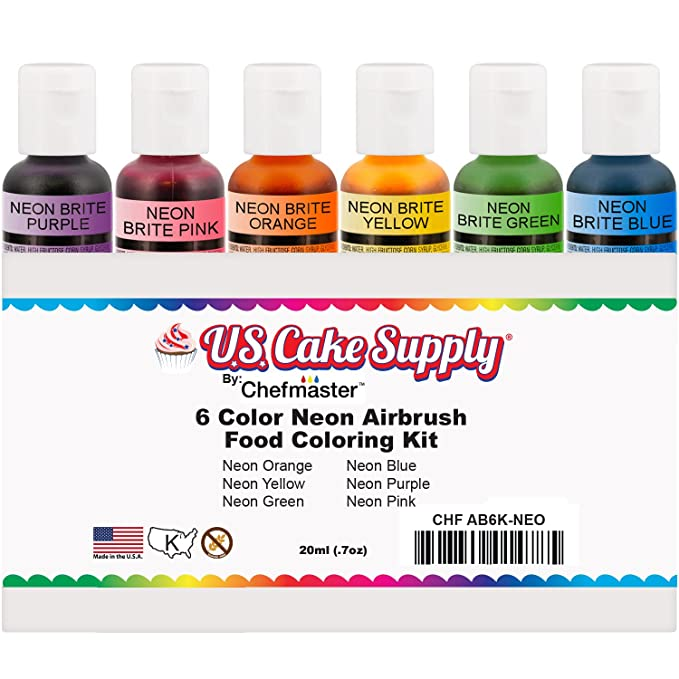 US Cake Supply by Chefmaster Airbrush Cake Neon Color Set - The 6 ...