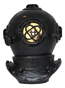 "Ebros Nautical Black Steampunk Diving Helmet Figurine with LED Night Light 9"" Tall Navy Diver Helm Statue Faux Iron Resin Sculpture Vintage Sci Fi Decor Coastal Ocean Submarine Unit War Maritime"