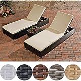 CLP 2x Poly-Rattan Sonnenliege / Gartenliege + Beistell-Tisch ca. 50 x 45 cm, ALU Gestell, Auflagen 6 cm dick Schwarz