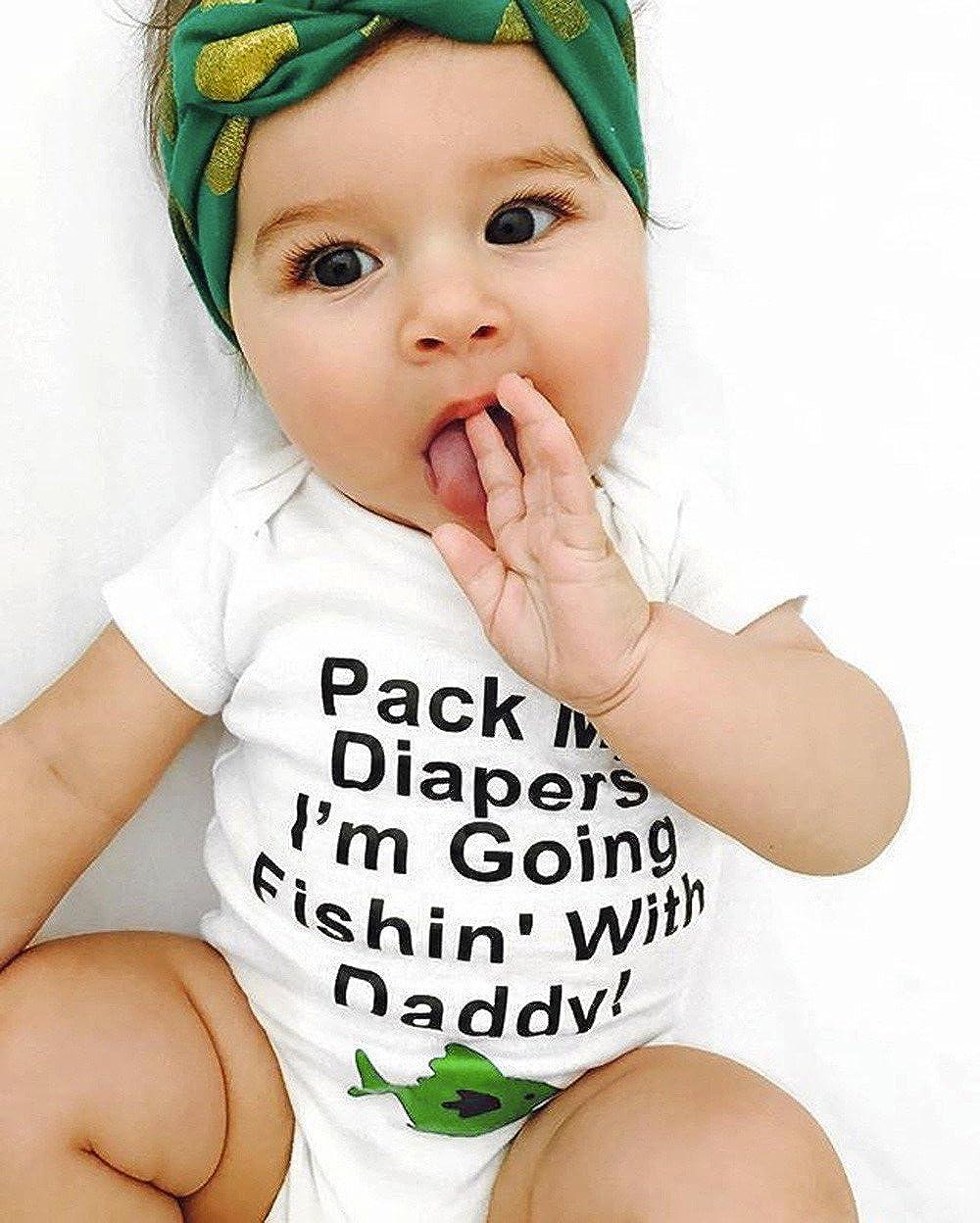 Fenleo Newborn Toddler Baby Girls Boys Sleeveless Letter Print Catoon Fish Romper Outfit