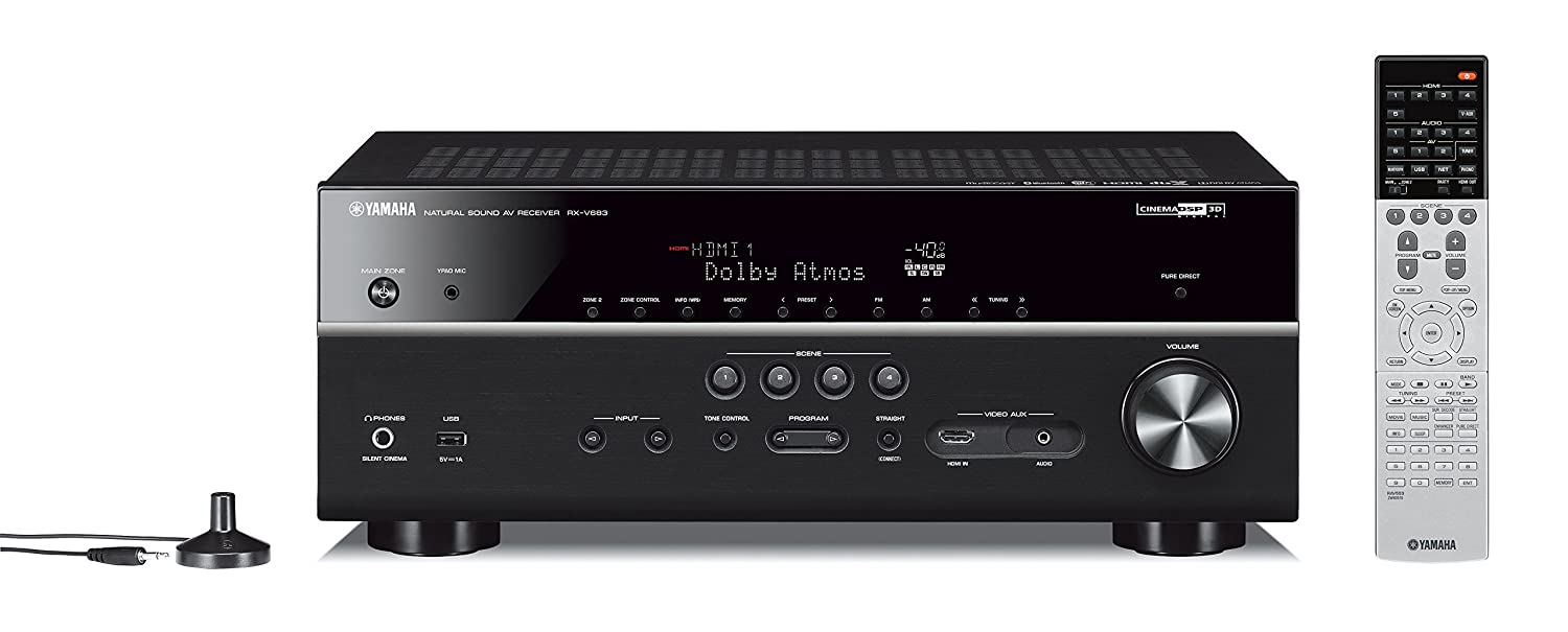 Yamaha RX-V683BL 7.2-Channel MusicCast AV Receiver with Bluetooth, Works with Alexa with 16-Gauge Speaker Wire - 100 Feet and Banana Plugs - 6 pairs
