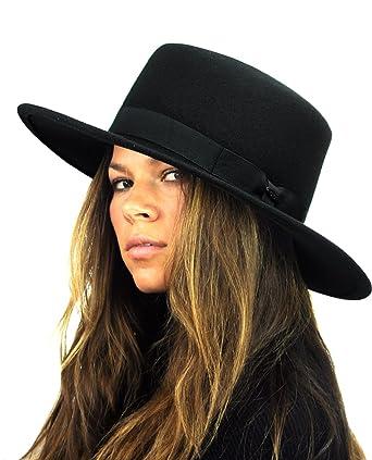 dbcd910560f2ac NYFASHION101 Wool Wide Brim Porkpie Fedora Hat w/Simple Band Accent - Black