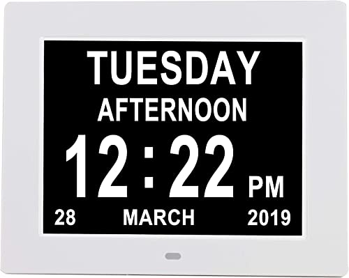 Newest Version Digital Day Calendar Clock Auto Dimming 3 Medication Reminder Non-Abbreviated Day Date Month Dementia Clocks for Seniors Elderly Impaired Vision 8 White