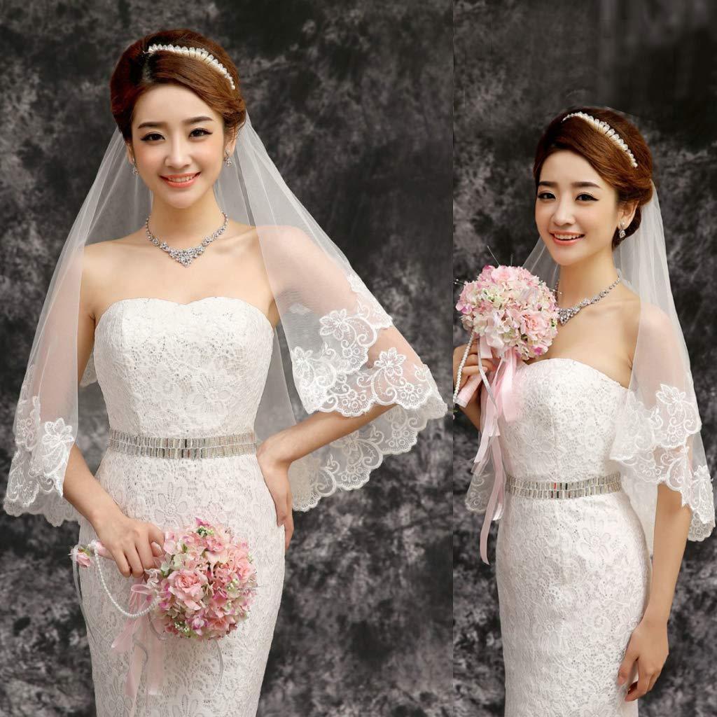 Velo da Sposa in Velluto Bianco con Bordo Fiore LDA Get Fresh Velo da Sposa Corto da 150 m da Sposa