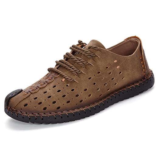 Summer Men's Mesh Breathable Leather Driving Shoes Casual Hiking Shoes Walking Lace Up Loafers