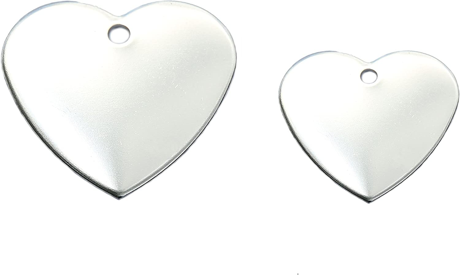 10 Bulk Wholesale Blank Heart Shape Premium Pet Id Tag in Polished Stainless Steel