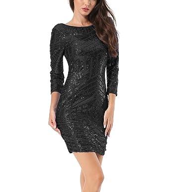 dfc87a4825e Yidarton Femme Robe de Club Soirée Bodycon Dos Nu Mini Manches 3 4 Brillant  Paillette  Amazon.fr  Vêtements et accessoires