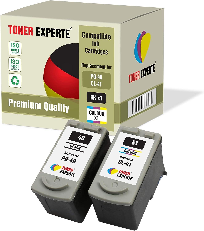 Pack de 2 XL TONER EXPERTE® Compatibles PG-40 CL-41 Cartuchos de Tinta para Canon Pixma iP1600 iP1800 iP1900 iP2200 iP2500 iP2600 MP140 MP150 MP160 MP170 MP180 MP190 MP210 MP450 MP460 (Negro, Color):