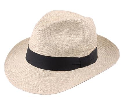 profiter de prix discount original artisanat exquis Classic Italy Authentique Chapeau Panama, tressage Traditionnel en Équateur  Large Bord - 4 Coloris - Homme Havana Fedora