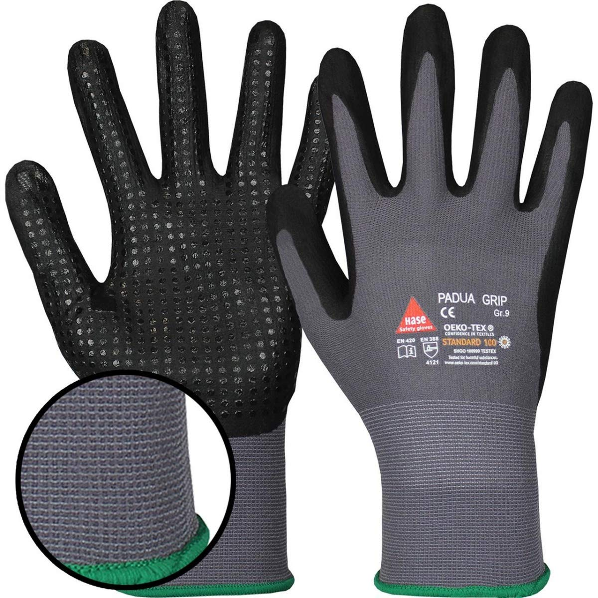 10 Paar Hase Safety Padua Grip Green Nitril-Arbeitshandschuhe 06 Rutschfeste Mechaniker-Handschuhe Gr/ö/ße XS
