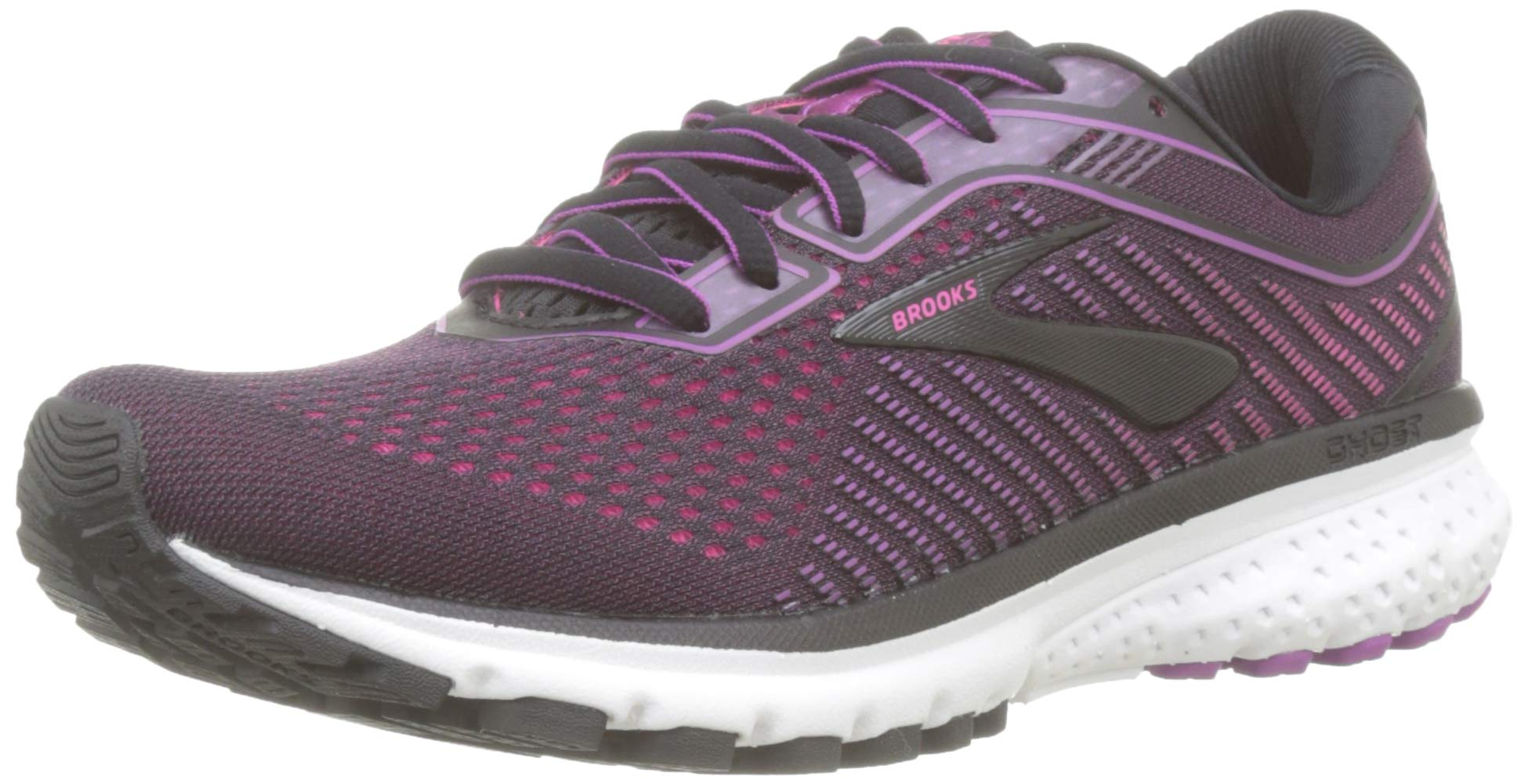 Brooks Women's Ghost 12 Black/Hollyhock/Pink 10 B US by Brooks