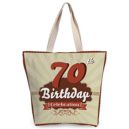 IPrint Unique Durable Canvas Tote Bag70th Birthday DecorationsVintage Candy Store Inspired 70
