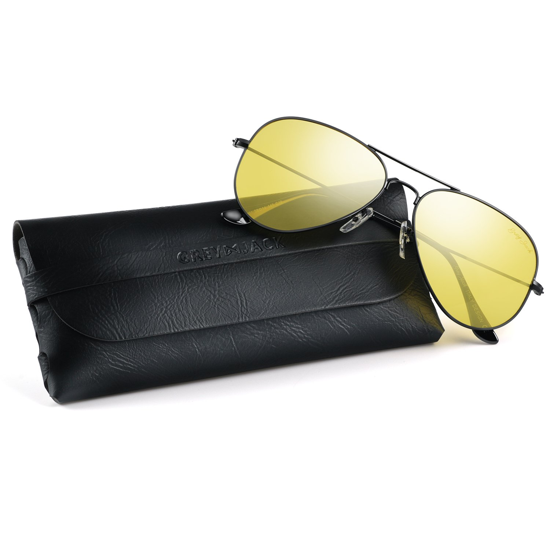 GREY JACK Anti-glare HD Night Driving Glasses Polarized Classic Aviator Sunglasses Military Style for Men Women Black