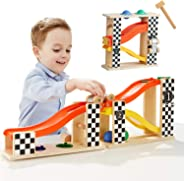TOP BRIGHT Toddler Wooden Toys for 1 2 Year Old Boy Gifts Car Ramp Racer, Hammer Ball Pound and roll Tower Toy for 18 Month