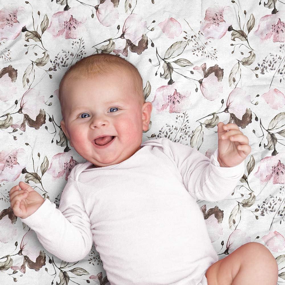 Bambou doux et soyeux Aenne Baby Cadeaux pour une baby Maxi Lange en Mousseline pour b/éb/é 1 paquet Coquelicot Violet Rose Floral 120 x 120 cm