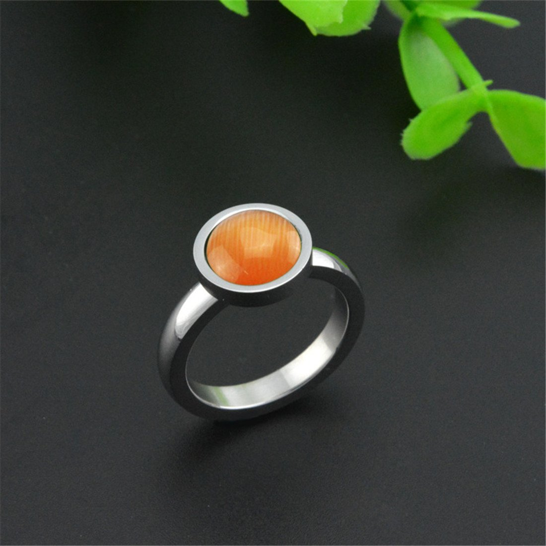 XIMAKA Womens Wedding Bands Inlaid Cats Eye Stone 316l Stainless Steel Ring,Orange,Size 5