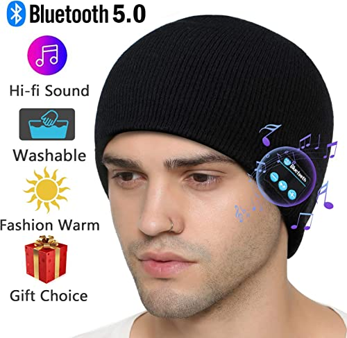 Bluetooth Beanie Hat, Gifts for Men Women, Wireless Beanie Bluetooth 5.0 Knit Music Cap with Stereo Speakers Built-in Mic Washable Bluetooth Beanie for Men Women Family Friends Gifts, Black