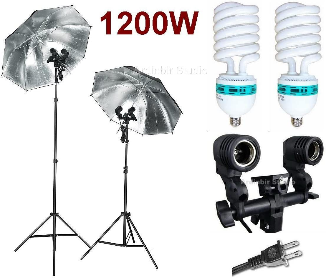 Ardinbir Studio 1200W Photo Black//Silver Reflective Umbrella kit with Continuous Light Socket and Stand