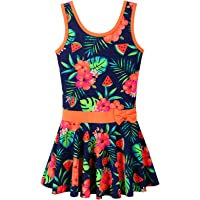 BAOHULU Big Girls' One Piece Swimsuit Cute Floral Dress Swimwear