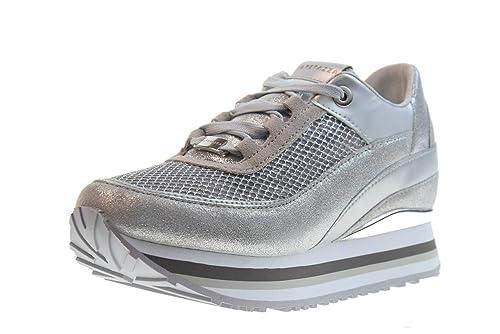 sneakers argento con zeppa
