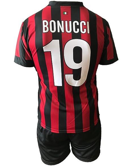 Conjunto Equipacion Camiseta Jersey Futbol Milan Bonucci